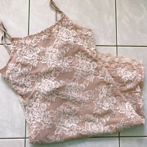 FOREVER 21 Blush Lace Bodycon Dress